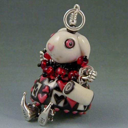 White Rabbit Pendant 3D Doll Sterling Silver and Porcelain