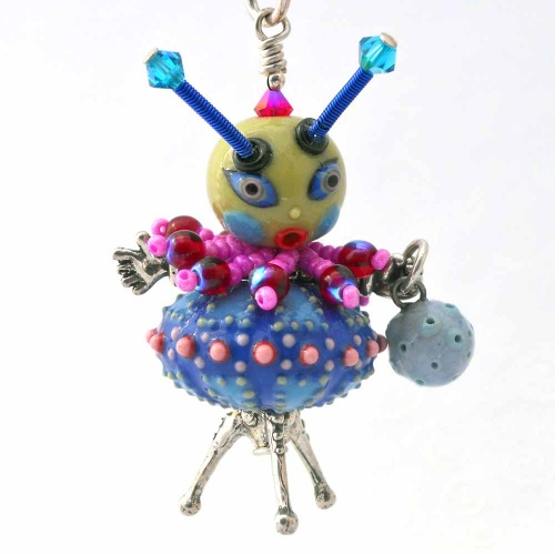 My Favorite Martian Handmade Porcelain and Sterling Silver Pendant