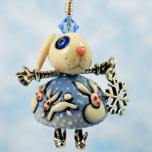Snow Bunny Porcelain and Sterling Silver Doll Pendant