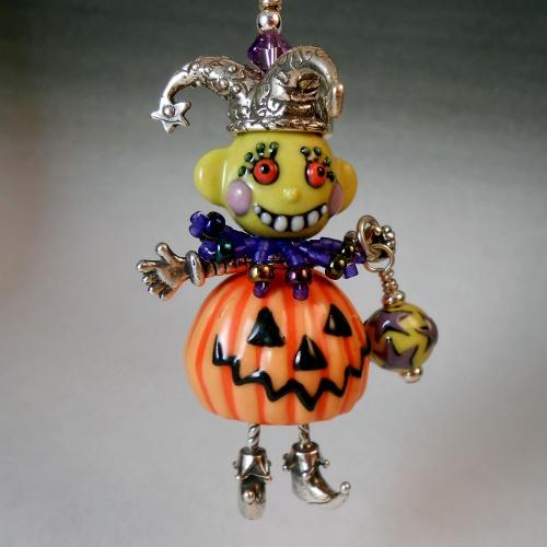 halloween pendant, jester, jack o lantern, halloween jewelry, joan ...