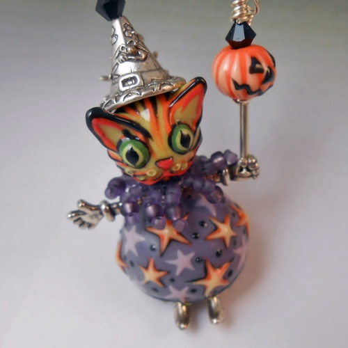 Tiger Kitty Witch Pendant