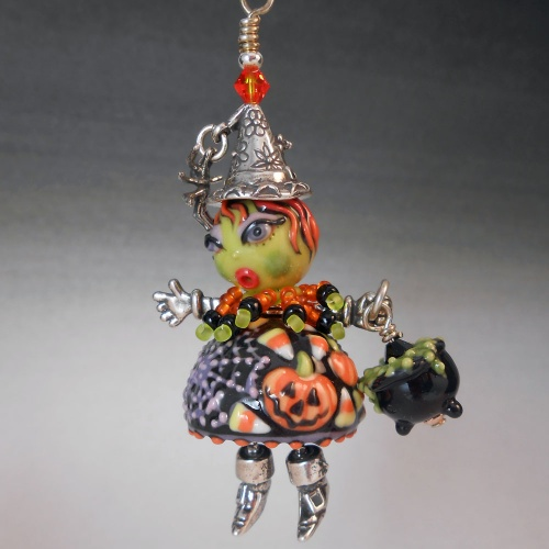 Witch Pendant with Pumpkin Dress and Cauldron - Handmade Porcelain Art Beads and Sterling Silver