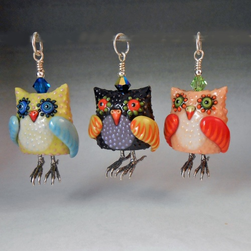 Owl Pendant - Handmade Colored Porcelain Owl Bead with Sterling Silver Feet