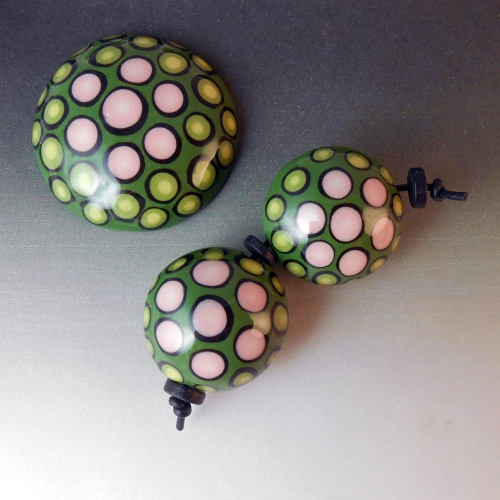 Green and Pink Polka Dot Cabochon with Matching Lentil Shaped Bead Pair