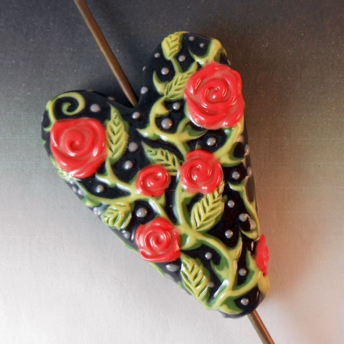 Black Heart Bead with Red Roses - Handmade Colored Porcelain Art Bead