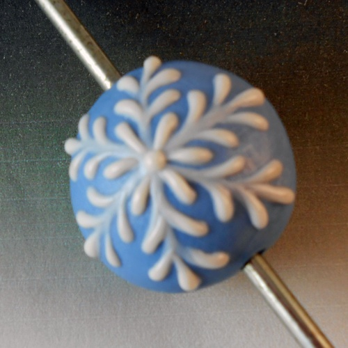 Snowflake Lentil Shaped Small Focal Bead