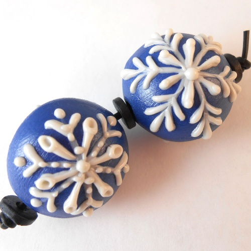 Matched Pair Snowflake Beads